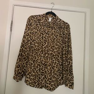 Leopard button up blouse